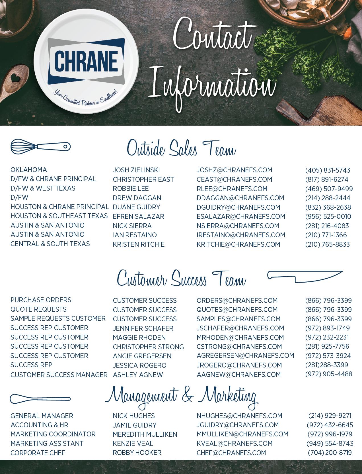 Chrane Line List - Back